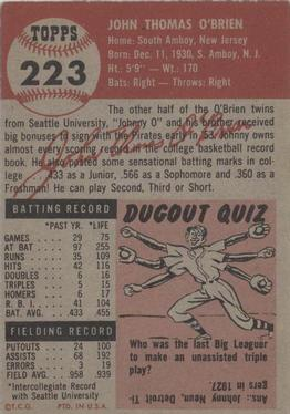 1953 Topps #223 Johnny O'Brien DP RC back image