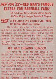 1953 Red Man #AL1 Casey Stengel MG back image