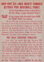 1953 Red Man #AL3 Yogi Berra back image