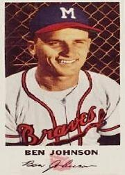 1954 Braves Johnston Cookies #12 Ben Johnson