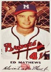 1954 Braves Johnston Cookies #41 Eddie Mathews