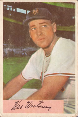 1954 Bowman #25A Wes Westrum 1.000/.987 Fielding Avg.