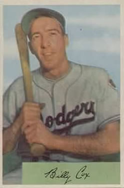 1954 Bowman #26A Billy Cox 1.000/.960 Fielding Avg. front image