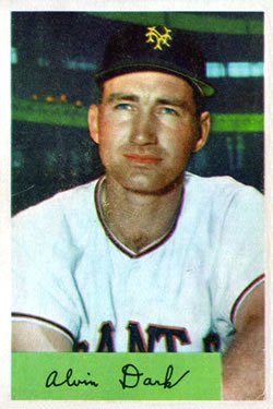 1954 Bowman #41A Alvin Dark .986/960 Fielding Avg.