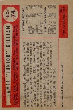 1954 Bowman #74 Jim Gilliam