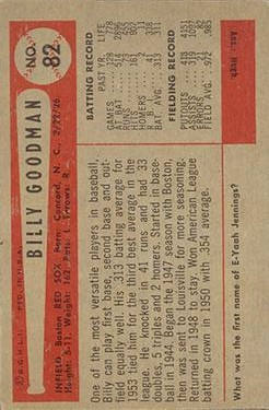 1954 Bowman #82A Bill Goodman/.965/.986 Fielding Avg. back image