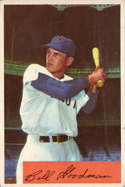 1954 Bowman #82A Bill Goodman .965/.986 Fielding Avg.