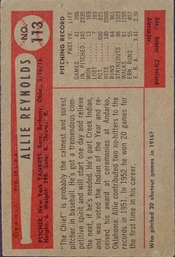 1954 Bowman #113 Allie Reynolds