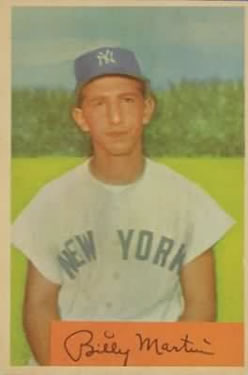 1954 Bowman #145A Billy Martin .985/.983 Fielding Avg. front image
