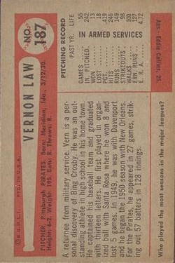 1954 Bowman #187 Vern Law