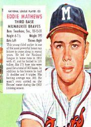 1954 Red Man #NL23 Eddie Mathews