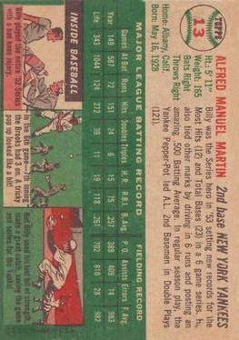 1954 Topps #13 Billy Martin back image
