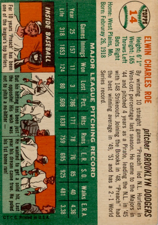 1954 Topps #14 Preacher Roe UER/February is misspelled back image