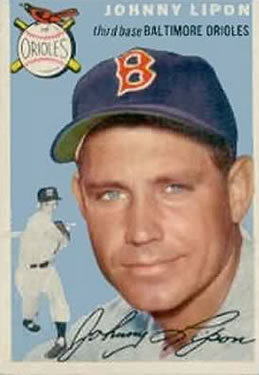 1954 Topps #19 Johnny Lipon/Orioles Team Name on Front/White Sox team on Back/Wearing a Red Sox cap front image