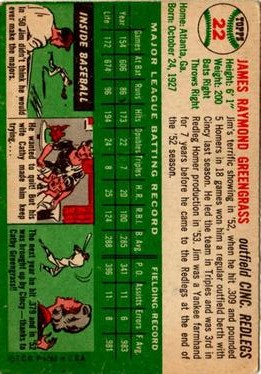 1954 Topps #22 Jim Greengrass back image
