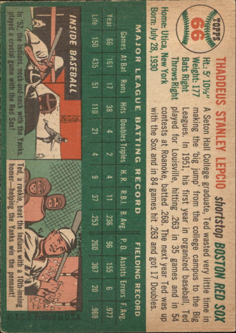 1954 Topps #66 Ted Lepcio back image