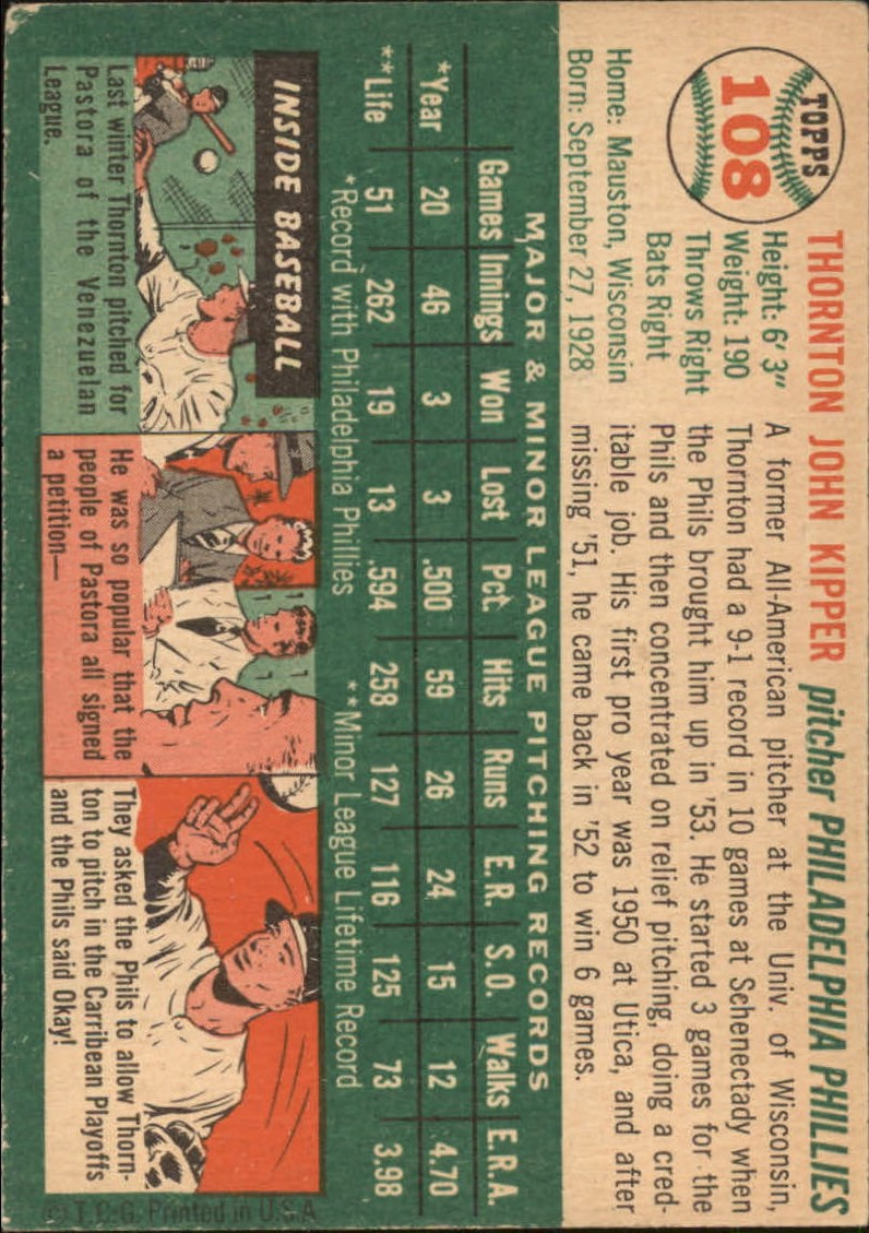 1954 Topps #108 Thornton Kipper RC back image