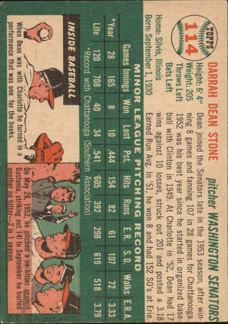 1954 Topps #114 Dean Stone RC back image