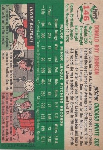 1954 Topps #146 Don Johnson back image