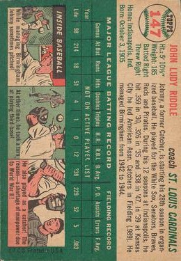 1954 Topps #147 Johnny Riddle CO