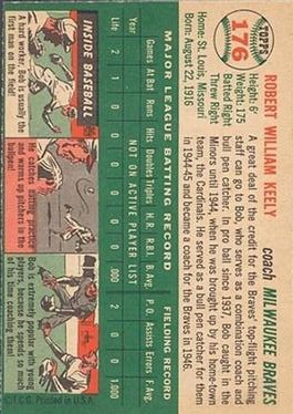 1954 Topps #176 Robert Keely CO back image