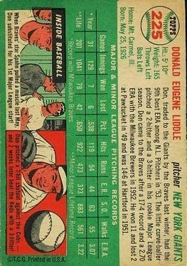 1954 Topps #225 Don Liddle RC back image