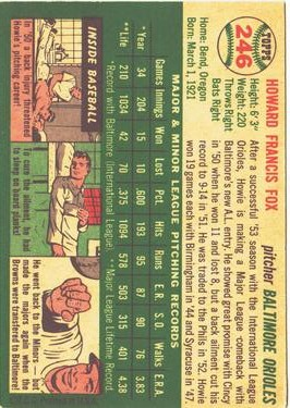 1954 Topps #246 Howie Fox back image
