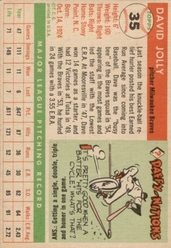 1955 Topps #35 Dave Jolly