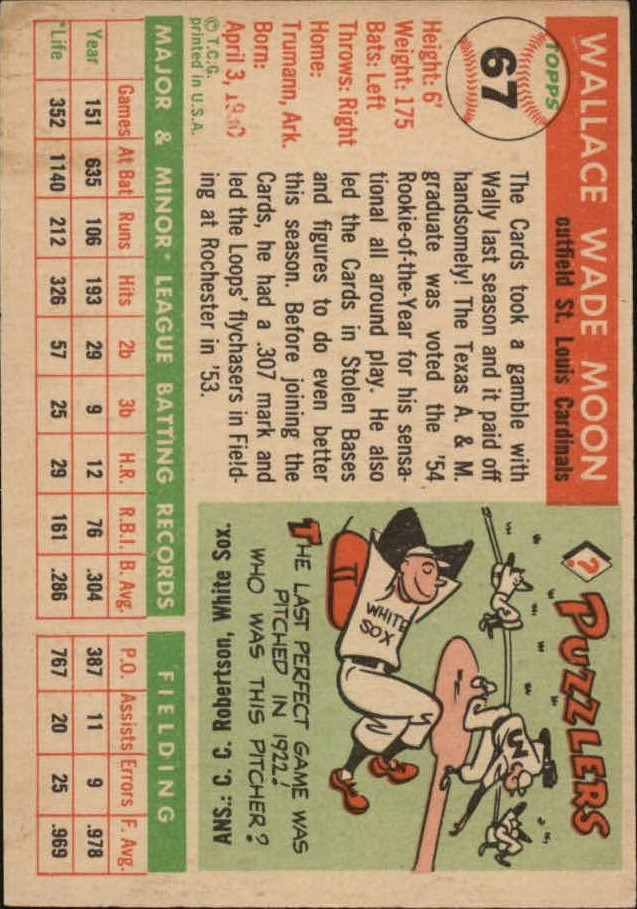 1955 Topps #67 Wally Moon back image