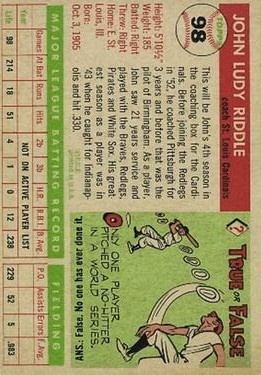 1955 Topps #98 John Riddle CO