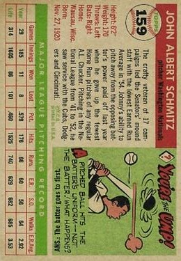1955 Topps #159 Johnny Schmitz back image