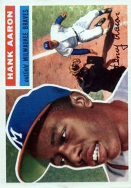 1956 Topps #31 Hank Aaron UER DP (Small photo is Willie Mays) front image