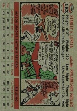 1956 Topps #183 Stan Lopata back image