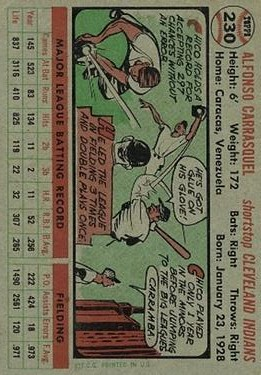 1956 Topps #230 Chico Carrasquel back image