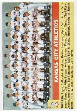 1956 Topps #236 Kansas City Athletics TC