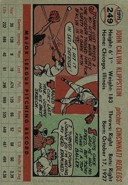 1956 Topps #249 Johnny Klippstein back image