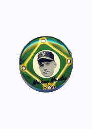 1956 Yellow Basepath Pins #20 Mickey Mantle