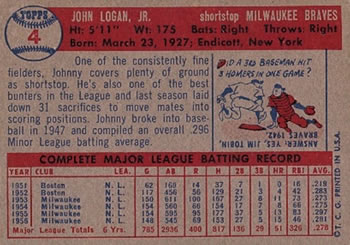 1957 Topps #4 Johnny Logan back image