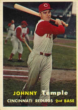 1957 Topps #9 Johnny Temple front image