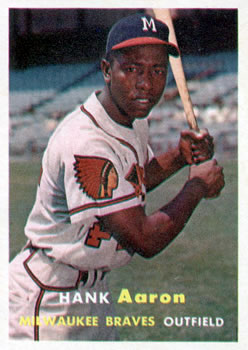 1957 Topps #20 Hank Aaron UER/(Reverse negative/photo on front)