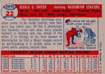 1957 Topps #22 Jerry Snyder UER/Photo actually Ed Fitzgerald
