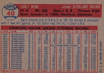 1957 Topps #40 Early Wynn