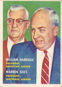 1957 Topps #100 Warren Giles PRES/Will Harridge PRES