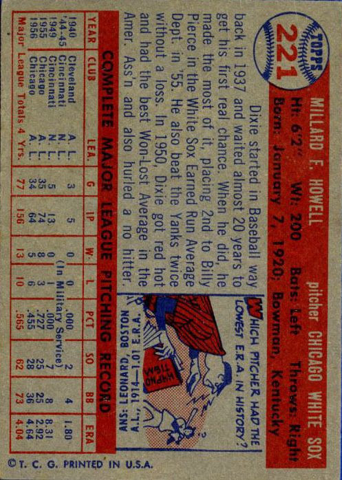 1957 Topps #221 Dixie Howell back image