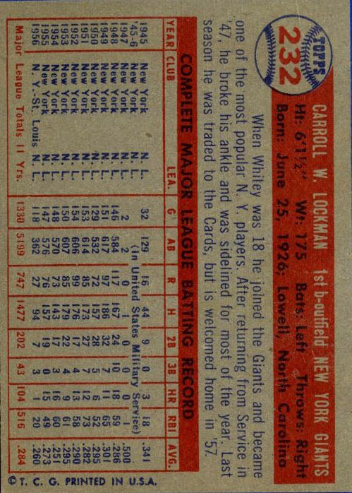 1957 Topps #232 Whitey Lockman back image