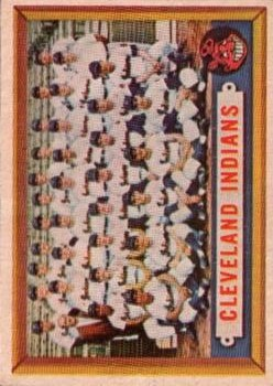 1957 Topps #275 Cleveland Indians TC/UER Text on back credits Tribe/with winning AL title in '28./The Yankees won that year.)