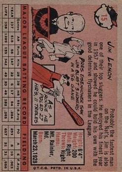 1958 Topps #15 Jim Lemon back image