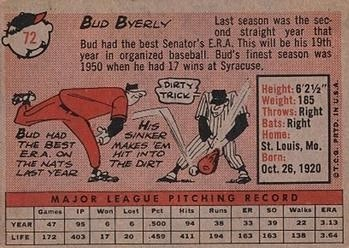 1958 Topps #72 Bud Byerly UER/Photo is Hal Griggs back image