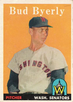 1958 Topps #72 Bud Byerly UER/Photo is Hal Griggs