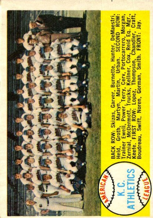 1958 Topps #174 Kansas City Athletics TC